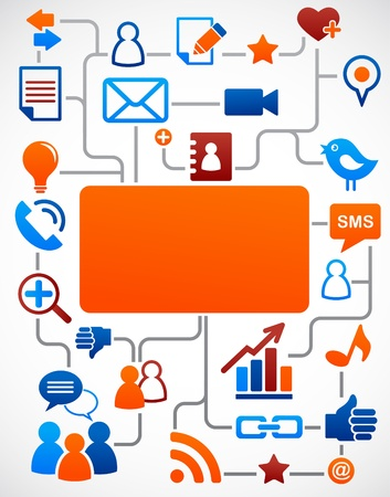 Social network background with media icons Stock Vector - 9639224