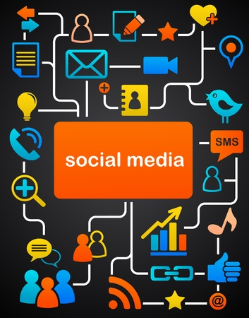 pessoa irreconhec�vel: Social network background with media icons