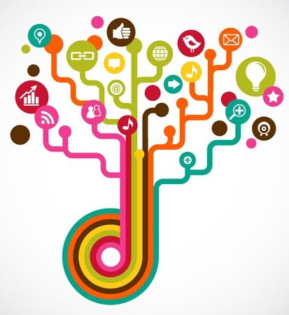 Árbol de red social con iconos de medios