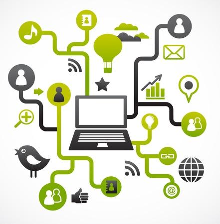 the internet: Sfondo sociale rete con icone media