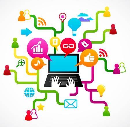business discussion: Fondo de la red social con iconos de medios Vectores