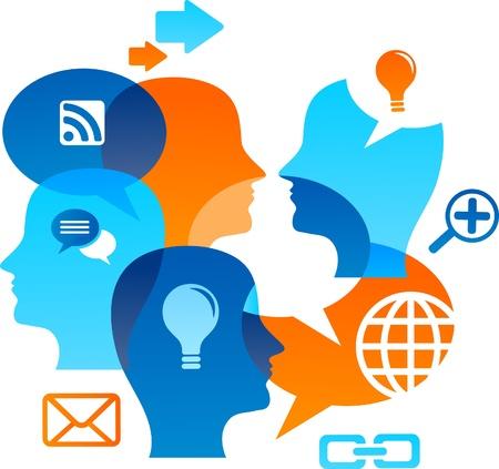 business discussion: Backgound de red social con iconos de medios