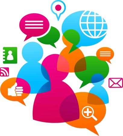 communicatie: Sociaal netwerk achtergrondkleur met media iconen Stock Illustratie