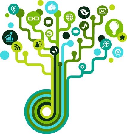 communications technology: �rbol de red social con iconos de medios Vectores