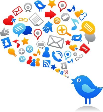 tweet icon: P�jaro azul con iconos de medios de comunicaci�n social