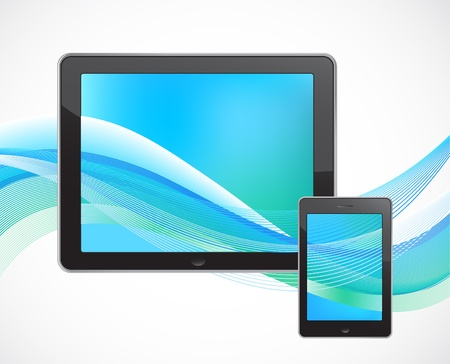 Tablet computer with smart phone Vector