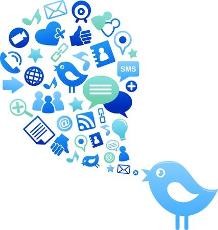 cellphone icon: Blue bird with social media icons