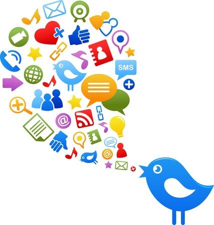 pajaro azul: P�jaro azul con iconos de medios de comunicaci�n social