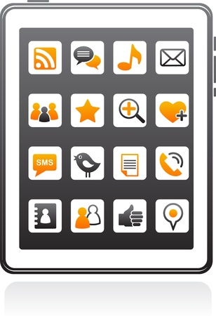 vector smart phone social media icons Stock Vector - 9639191