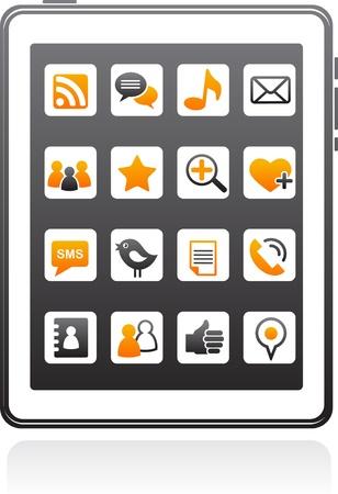 vector smart phone social media icons Stock Vector - 9639191