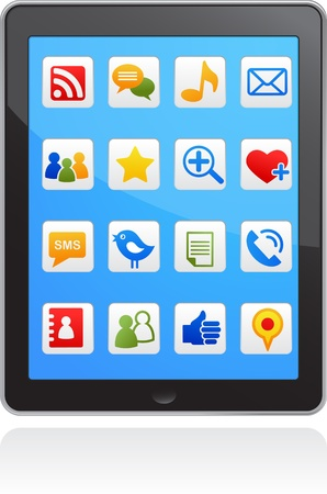 tweet icon:  vector smart phone social media icons Illustration