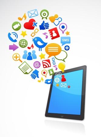 tweet icon:  iconos de medios de comunicaci�n social de tel�fono inteligente de vectores