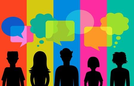 gente: silueta de los j�venes con burbujas de discurso Vectores