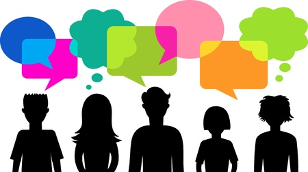 many people: silhouette of young people with speech bubbles Illustration