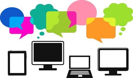 laptop screen: iconos de equipo diferente con burbujas de discurso