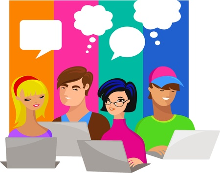 internet dating: young people with speech bubbles and computers