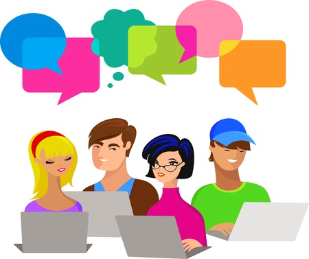 giovani con le bolle di discorso e computer