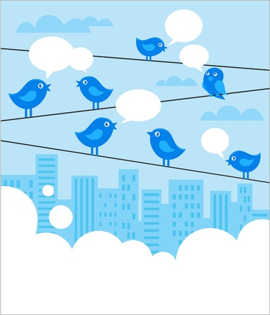 pessoa irreconhec�vel: Social network background with blue birds