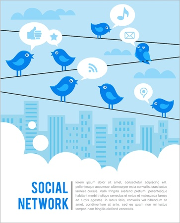 communication tower: Social network background with birds and icons Illustration