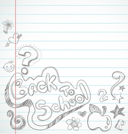 back to school - notebook with doodles Stock Vector - 9842783