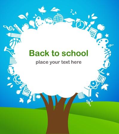 arbol de la sabiduria: regreso a la escuela - �rbol con iconos de educaci�n Vectores
