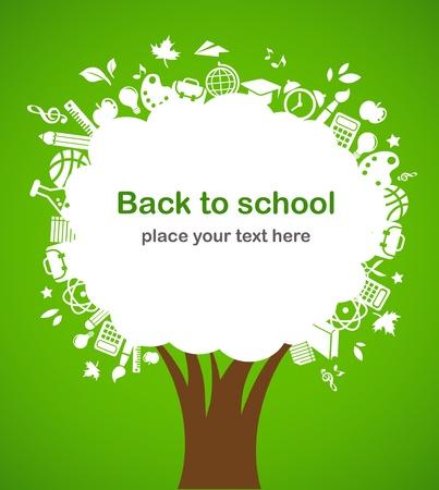 vzdělání: back to school - tree with education icons