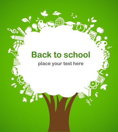 fournitures scolaires: retourner � l'�cole - arbre avec des ic�nes d'�ducation