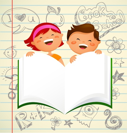 ni�os con l�pices: regreso a la escuela - los ni�os con un libro abierto Vectores