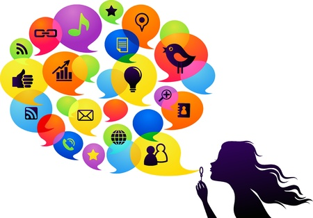 chat room: Social network background with girl