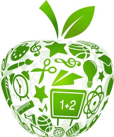 retourner à l'école - Apple avec des icônes d'éducation Illustration