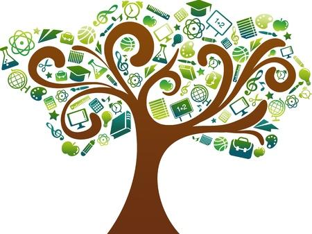 onderwijs: terug naar school - boom met onderwijs pictogrammen