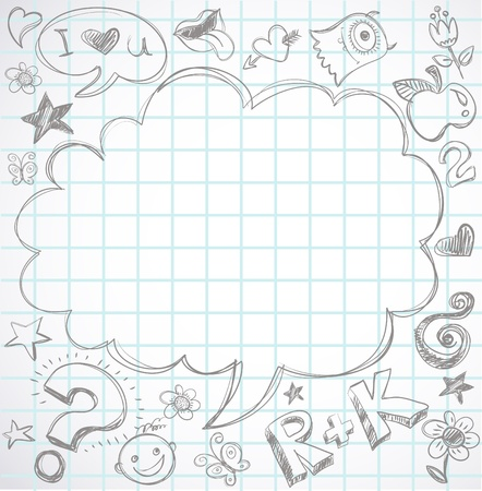 back to school - notebook with doodles Stock Vector - 9842785