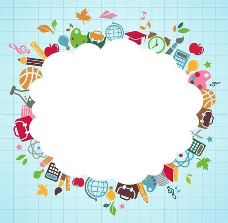 utiles escolares: regreso a la escuela - fondo con iconos de educaci�n