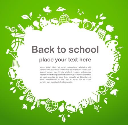 onderwijs: terug naar school - achtergrond met onderwijs iconen Stock Illustratie