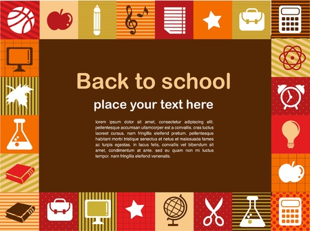 elementary: back to school - background with education icons