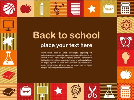 La rentrée scolaire - de fond avec des icônes d'éducation