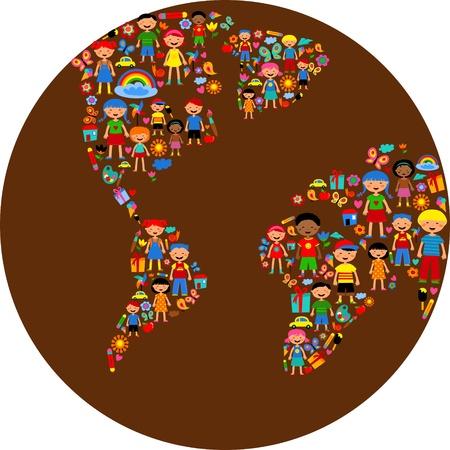 paix monde: plan�te des enfants, illustration color�e