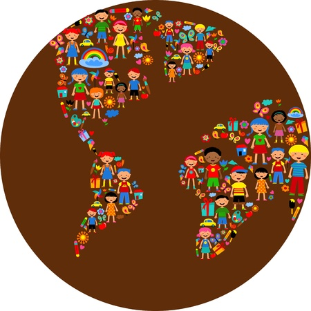 happy world: planet of kids, colorful  illustration
