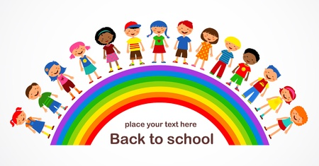 rainbow with kids, colorful illustration