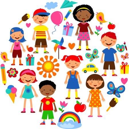 planet of kids, colorful illustration Illustration