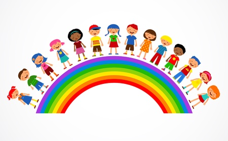 rainbow clouds: rainbow with kids, colorful illustration
