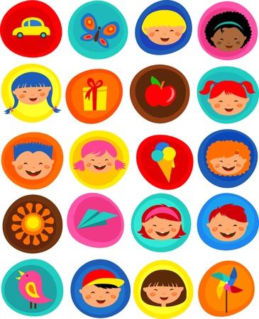 patrón de niños lindos con iconos