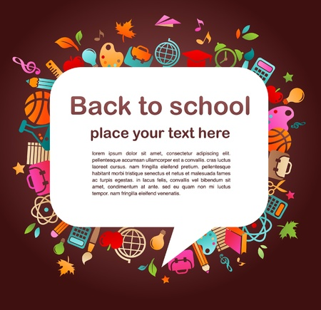 colegio: regreso a la escuela - fondo con iconos de educación