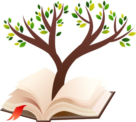 hardcover: illustration of tree growing in open book  Illustration