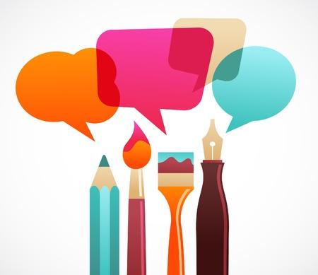 art et des outils d'écriture avec les discours de Bulles Vecteurs