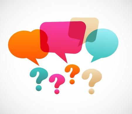 punto di domanda: punto interrogativo con bubles vocali