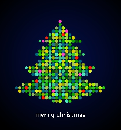 Xmas background with pixel Christmas tree Stock Vector - 10697689