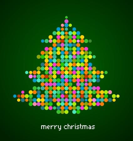 Xmas background with pixel Christmas tree photo