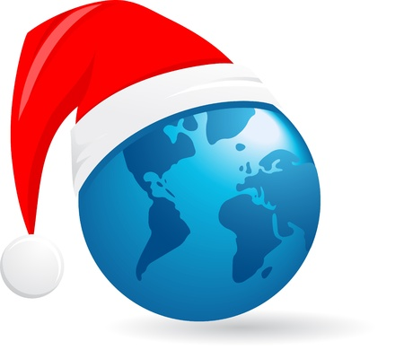 world Christmas ball, vector background Vector