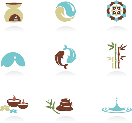 yin yang symbol: Collection of spa and Zen icons